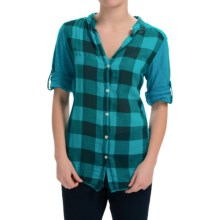 dylan Vintage Buffalo Check Blouse - Roll-Up Long Sleeve (For Women) in Vtg Aquamarine - Closeouts