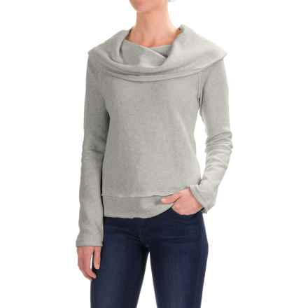 dylan Vintage Faith Cropped Sweatshirt - Cowl Neck (For Women) in Vintage Grey - Closeouts
