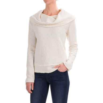 dylan Vintage Faith Cropped Sweatshirt - Cowl Neck (For Women) in Vtg White/Heather - Closeouts