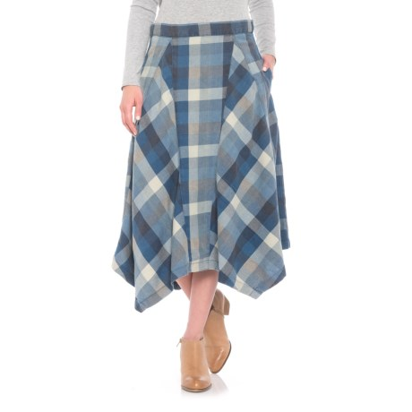 dylan Vintage Ranch Plaid Midi Skirt (For Women) in Blue
