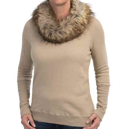 dylan Vintage Sweatshirt - Removable Faux-Fur Collar (For Women) in Light Brown - Closeouts