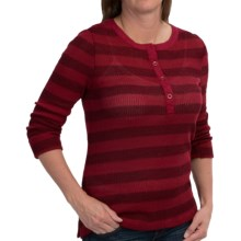 dylan Waffle-Knit Striped Henley Shirt - Long Sleeve (For Women) in Burgundy/Black - Closeouts