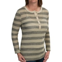 dylan Waffle-Knit Striped Henley Shirt - Long Sleeve (For Women) in Hthr Twig/Blk - Closeouts