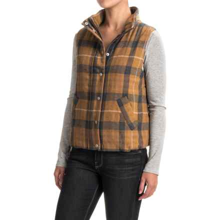 dylan Washed Indigo Plaid Classic Vest (For Women) in Gold - Closeouts