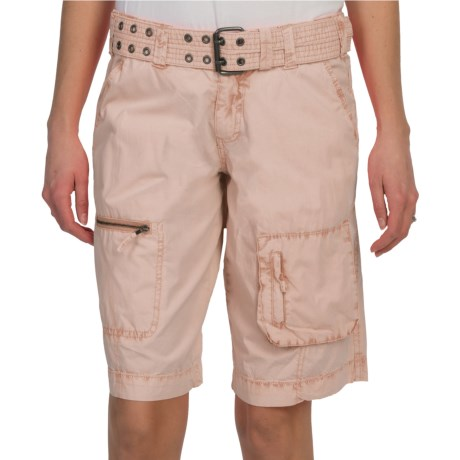 dylan Washed Utility Bermuda Shorts - Cotton (For Women) in Dune