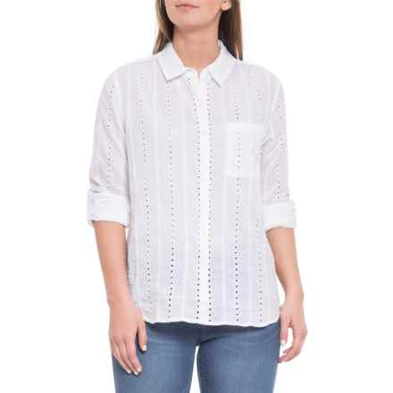 dylan White Clean Lines Classic Tunic Shirt - Long Sleeve (For Women) in White - Closeouts