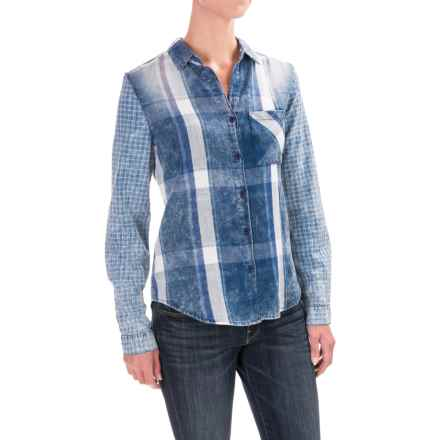 dylan Windowpane Plaid Shirt - Cotton, Long Sleeve (For Women) in Washed Indigo - Closeouts