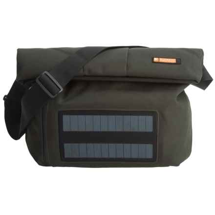 e-mission Shoulder Messenger Bag with Solar Power Charger - Large in Dark Green/Grey - Closeouts