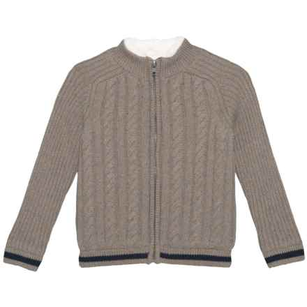 E of M Mock Neck Cardigan Sweater - Zip Front (For Little Boys) in Mud Heather - Closeouts
