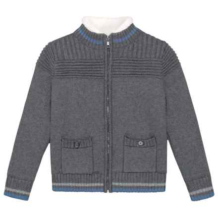 4a10c4e5a E of M Ottoman Stitch Yoke Cardigan Sweater - Mock Neck (For Toddlers) in