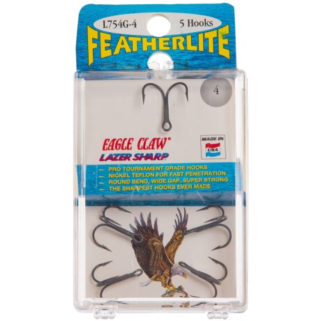 Eagle Claw Featherlite® Treble Hooks - 5-Pack, Size 4 in Asst