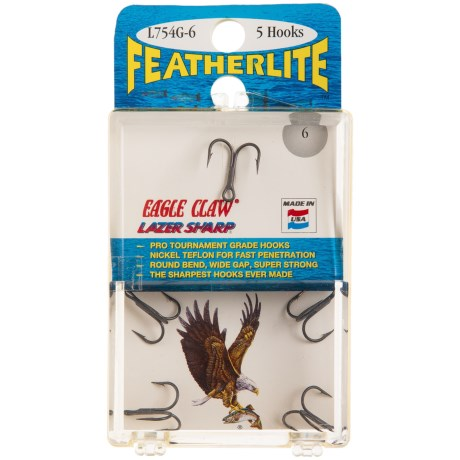 Eagle Claw Featherlite® Treble Hooks - 5-Pack, Size 6 in Asst