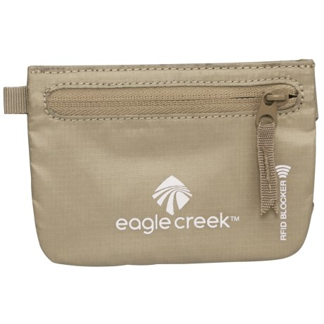 Eagle Creek Credit Clip RFID Zip Pouch in Tan