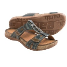 Earth Abaca Sandals - Leather (For Women) in Dark Blue Calf Leather - Closeouts