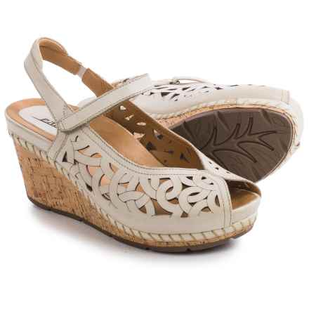 Earth Aquarius Sandals - Leather, Wedge Heel (For Women) in Off White Leather - Closeouts
