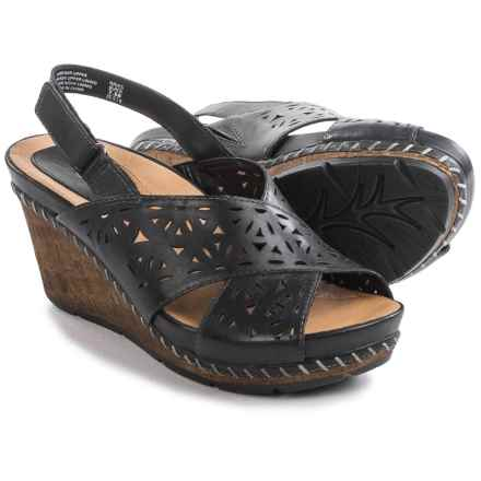 Earth Aries Sandals - Leather, Wedge Heel (For Women) in Black Leather - Closeouts