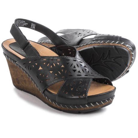 Earth Aries Sandals Leather Wedge Heel For Women