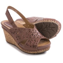Earth Aries Sandals - Leather, Wedge Heel (For Women) in Brown Leather - Closeouts