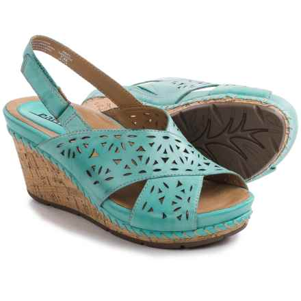 Earth Aries Sandals - Leather, Wedge Heel (For Women) in Turquoise Leather - Closeouts