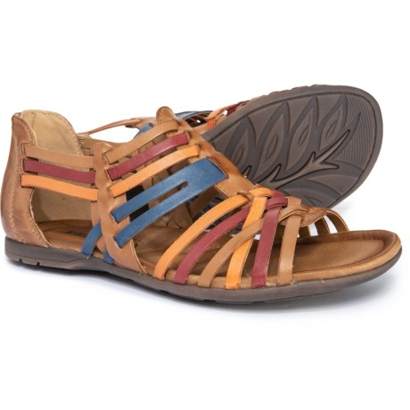 269ee4129019 Earth Bonfire Strappy Flat Sandals (For Women) in Sand Brown Multi