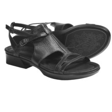 Earth Dual-Buckle Sandals - Leather (For Women) in Black Calf - Closeouts