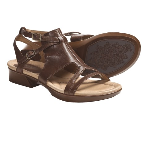 Earth Dual-Buckle Sandals - Leather (For Women) in Brown Calf
