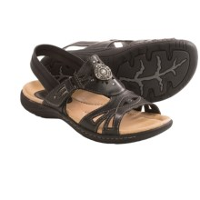 Earth Guava Leather Sandals (For Women) in Black Calf Leather - Closeouts