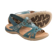 Earth Guava Leather Sandals (For Women) in Shadow Blue Calf Leather - Closeouts