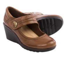 Earth Heron Wedge Mary Jane Shoes - Leather (For Women) in Almond Leather - Closeouts