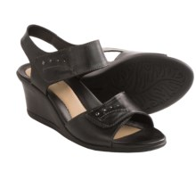 Earth Iris Wedge Sandals - Leather (For Women) in Black - Closeouts