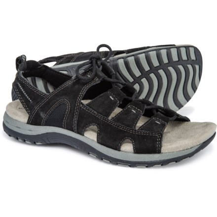 3fb6a996f71 Earth Origins Sassy Suede Lace-Up Comfort Sandals (For Women) in Black