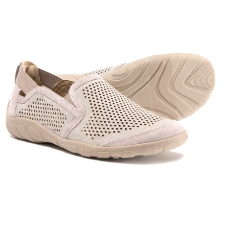 Earth Origins Wet Perforated Leather Shoes - Slip-Ons (For Women) in Silver Grey