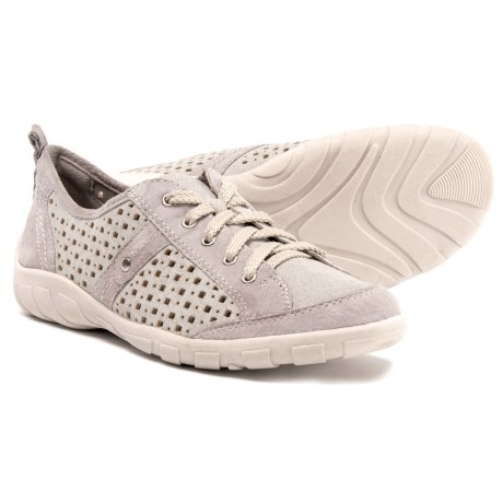 Earth Origins Wooly Perforated Leather Sneakers (For Women) in Silver Grey