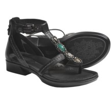 Earth Paprika Sandals - Leather, T-Strap (For Women) in Black Calf - Closeouts