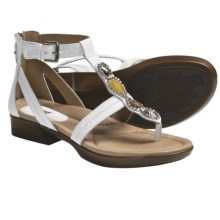 Earth Paprika Sandals - Leather, T-Strap (For Women) in White Leather - Closeouts