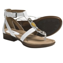 Earth Paprika Sandals - Leather, T-Strap (For Women) in White Leather