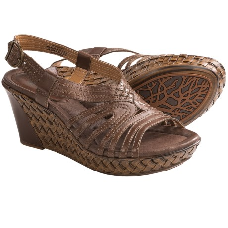 Earth Paradise Wedge Sandals (For Women) in Bat Brown Calf