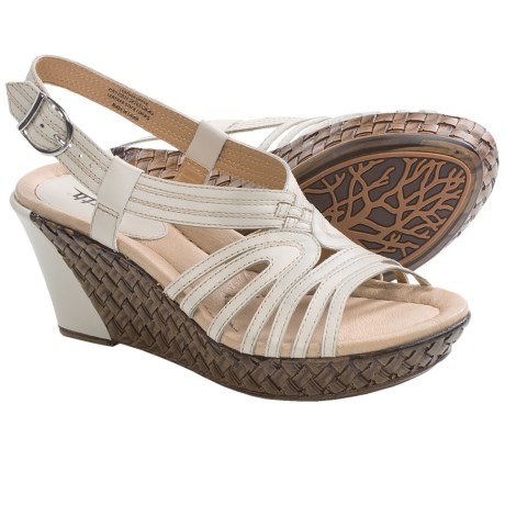 Earth Paradise Wedge Sandals (For Women) in Off White Calf