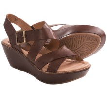 Earth Posy Wedge Sandals (For Women) in Bat Brown Calf - Closeouts