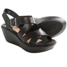 Earth Posy Wedge Sandals (For Women) in Black Calf - Closeouts