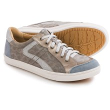 Earth Quince Sneakers - Leather (For Women) in Light Grey Multi Metallic Suede - Closeouts