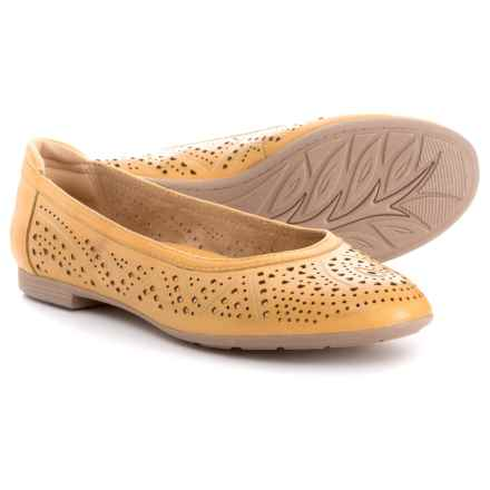 Earth Royale Ballet Flats - Leather (For Women) in Amber Yellow Leather - Closeouts