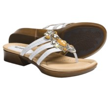 Earth Saffron Sandals (For Women) in White Leather - Closeouts