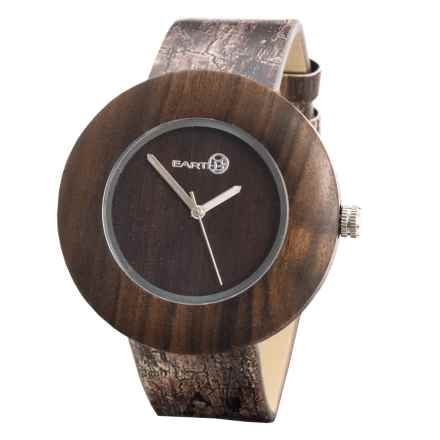 Earth Wood Goods EW1402 Ligna Watch - Leather Strap in Dark Brown Leather/Wood - Closeouts