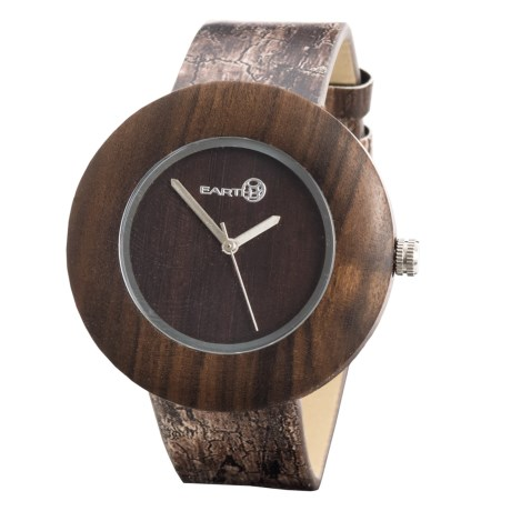 Earth Wood Goods EW1402 Ligna Watch - Leather Strap in Dark Brown Leather/Wood