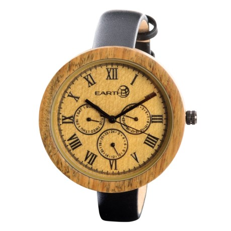 Earth Wood Goods EW3804 Brush Watch - Leather Strap (For Women) in Black Leather/Light Wood