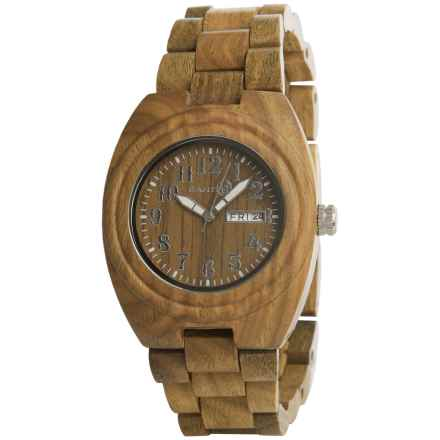 Earth Wood Goods Sede04 Hilum Analog Watch - Wood Bracelet in Olive Wood/Olive Wood - Closeouts