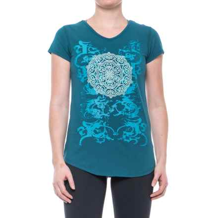 Earth Yoga Mandela Grace T-Shirt - Organic Cotton, Short Sleeve (For Women) in Sky Swirl - Closeouts