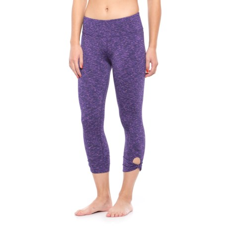 Earth Yoga Space-Dye Rolled Ankle Capris (For Women) in Violet Indigo Space Dye