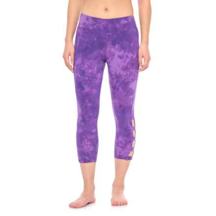 Earth Yoga Vented Capris - Organic Cotton (For Women) in Violet Tie Dye - Closeouts